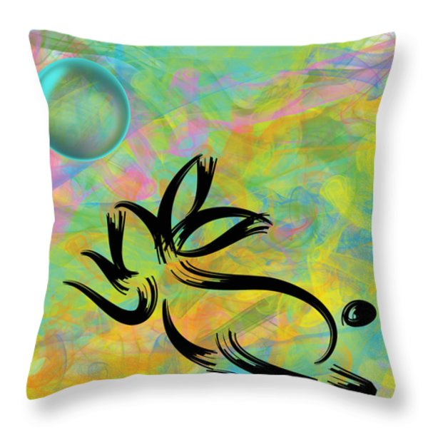 Bubbly Rabbit Throw Pillow by Oiyee At Oystudio