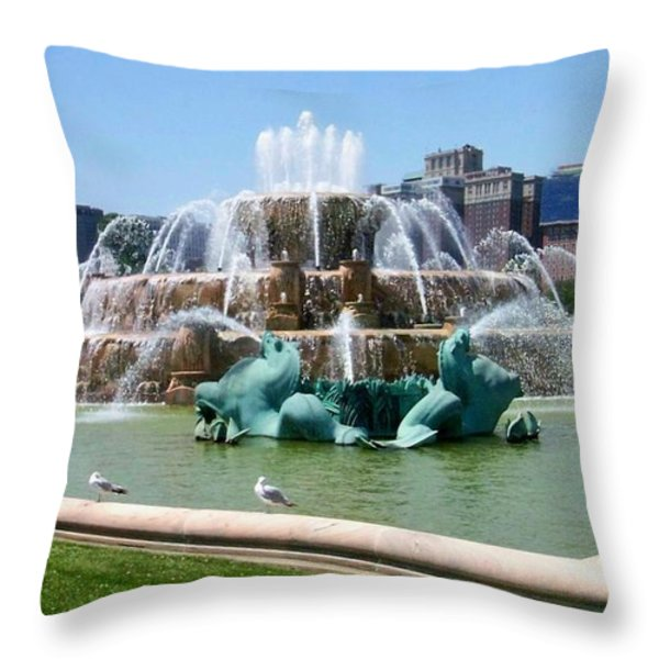 Buckingham Fountain Throw Pillow by Anita Burgermeister