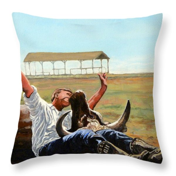 Bucky Gets the Bull Throw Pillow by Tom Roderick
