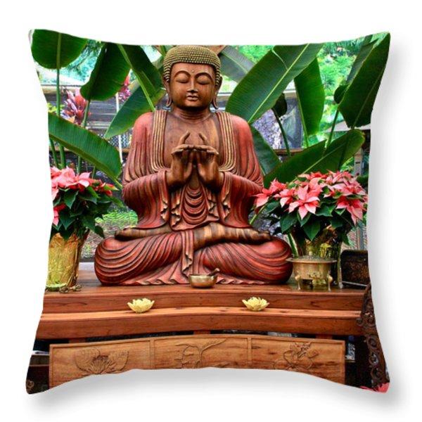 Buddha Enlightenment - The Sacred Garden Throw Pillow by Karon Melillo DeVega