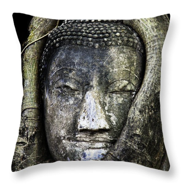 Buddha Head in Banyan Tree Throw Pillow by Adrian Evans