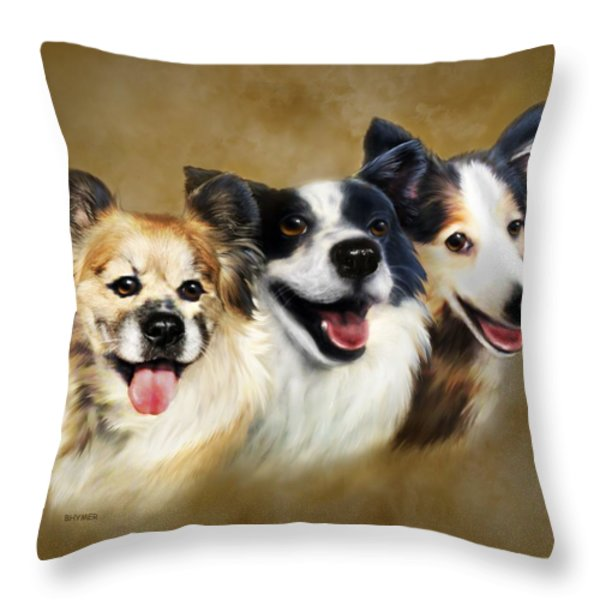 Buddies Throw Pillow by Barbara Hymer