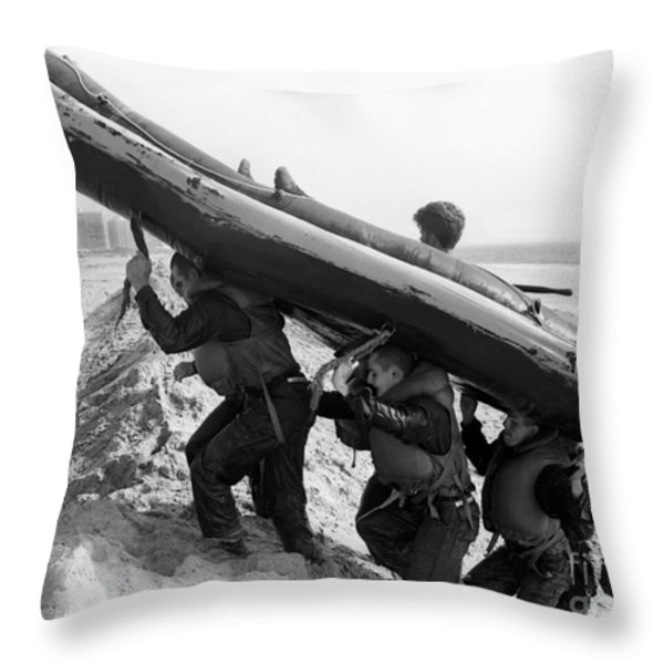 Buds Students Carry An Inflatable Boat Throw Pillow by Michael Wood