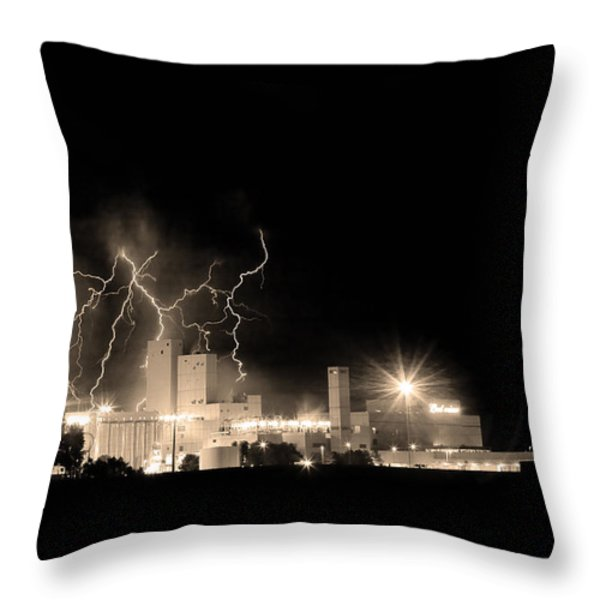 Budweiser Lightning Thunderstorm Moving Out Bw Sepia Throw Pillow by James BO  Insogna