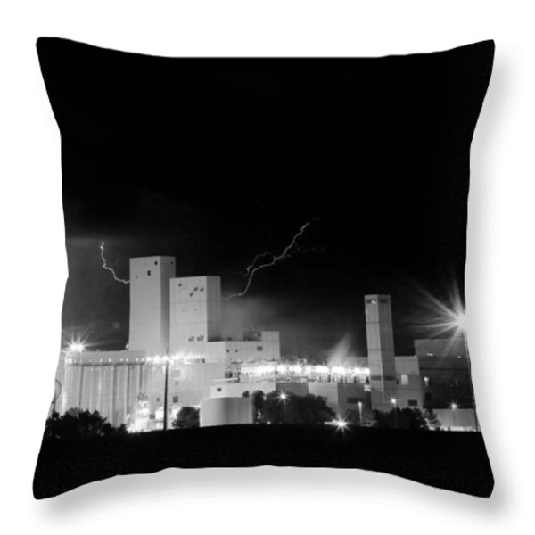 Budwesier Brewery Lightning Thunderstorm Image 3918  BW Throw Pillow by James BO  Insogna