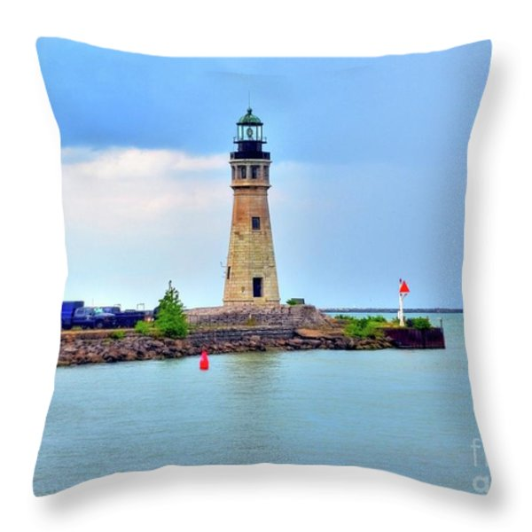 Buffalo Lighthouse Throw Pillow by Kathleen Struckle