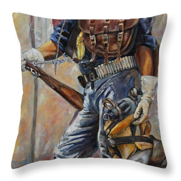 Buffalo Soldier Outfitted Throw Pillow by Harvie Brown
