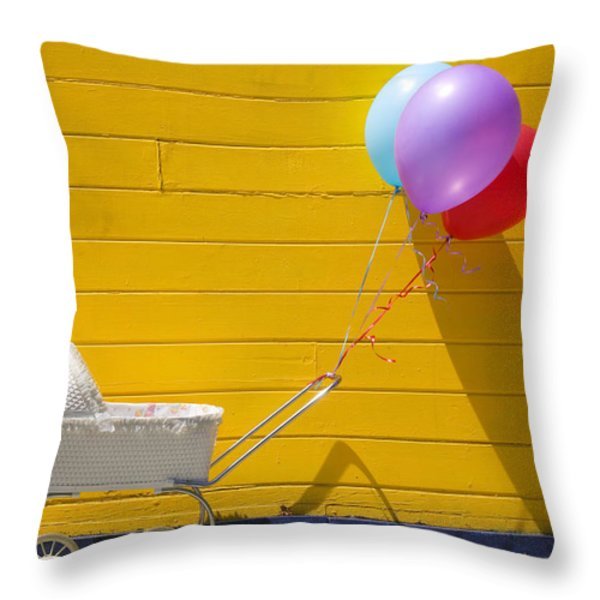 Buggy and yellow wall Throw Pillow by Garry Gay