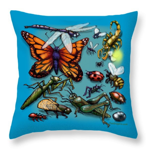 Bugs Throw Pillow by Kevin Middleton