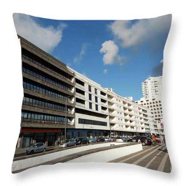 Buildings In Ponta Delgada Throw Pillow by Gaspar Avila