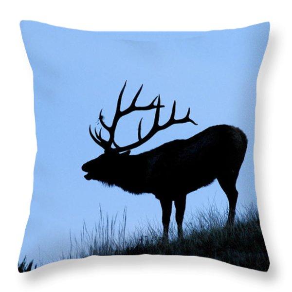 Bull Elk Silhouette Throw Pillow by Larry Ricker
