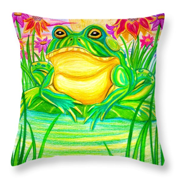 Bull frog and the Moon Throw Pillow by Nick Gustafson