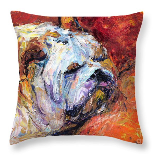 Bulldog Portrait painting impasto Throw Pillow by Svetlana Novikova