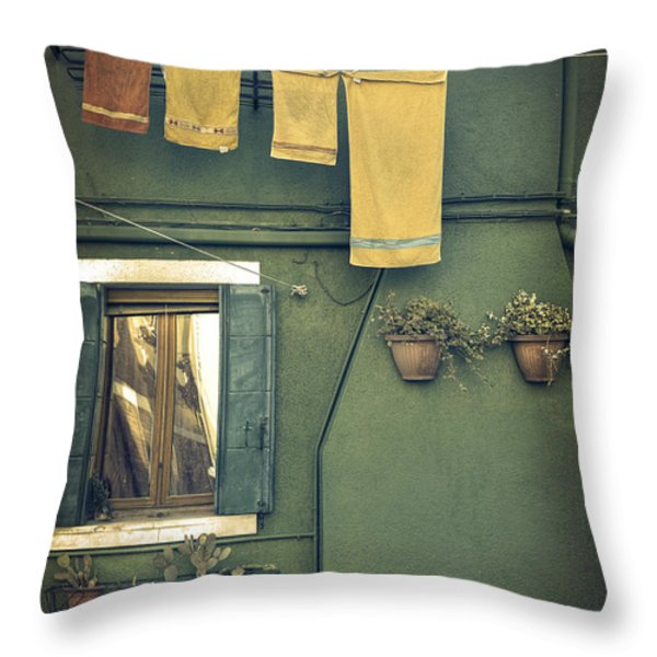 Burano - green house Throw Pillow by Joana Kruse
