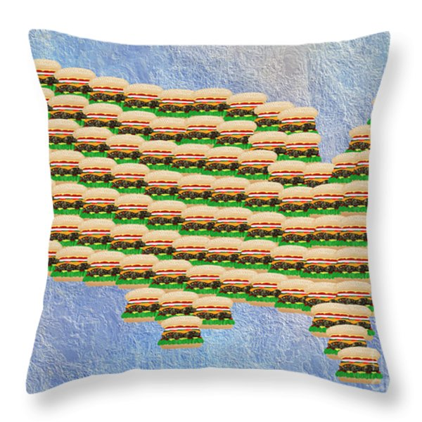 Burger Town Usa Map Throw Pillow by Andee Design