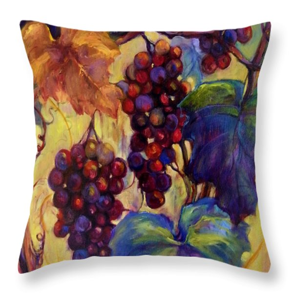 Burgundy Grapes Throw Pillow by Peggy Wilson