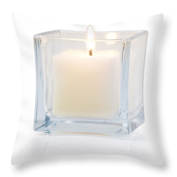 burning candle side view 20 degree Throw Pillow by ATIKETTA SANGASAENG