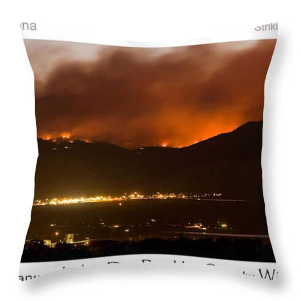 Burning Foothills Above Boulder Fourmile Wildfire Panorama Poster Throw Pillow by James BO  Insogna