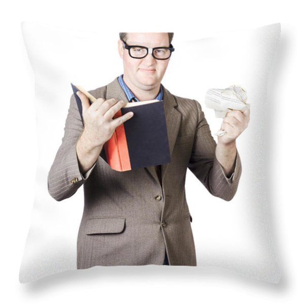 Businessman With Book And Crumpled Paper Throw Pillow by Jorgo Photography - Wall Art Gallery