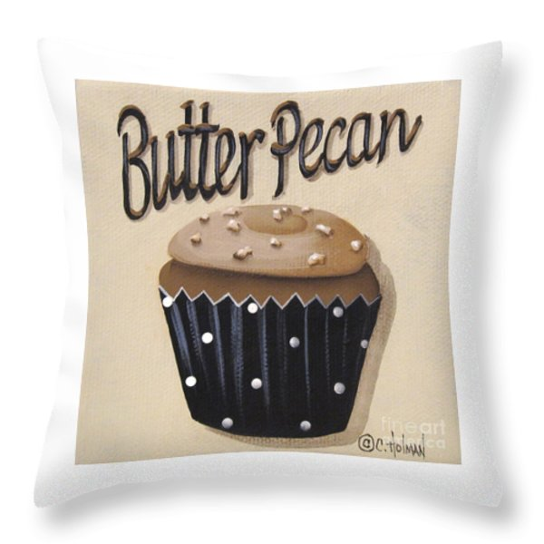 Butter Pecan Cupcake Throw Pillow by Catherine Holman
