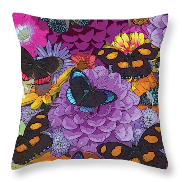 Butterflies And Flowers 2 Throw Pillow by JQ Licensing