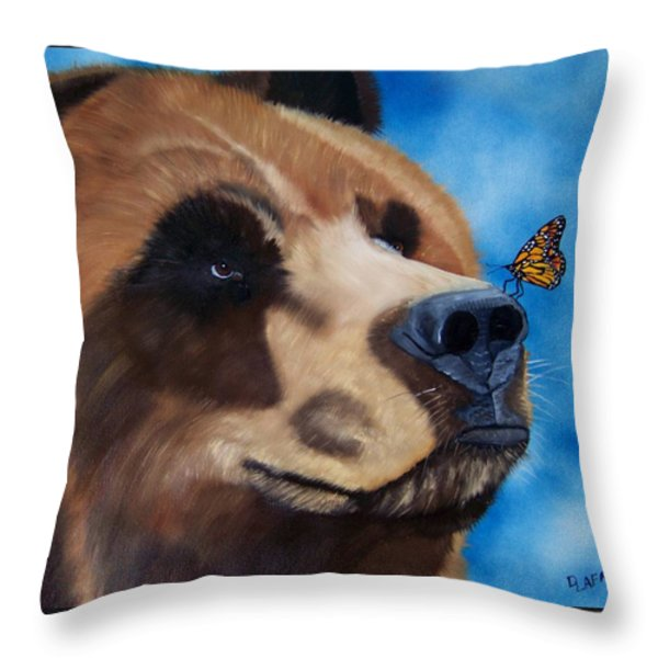 Butterfly Kisses Throw Pillow by Debbie LaFrance