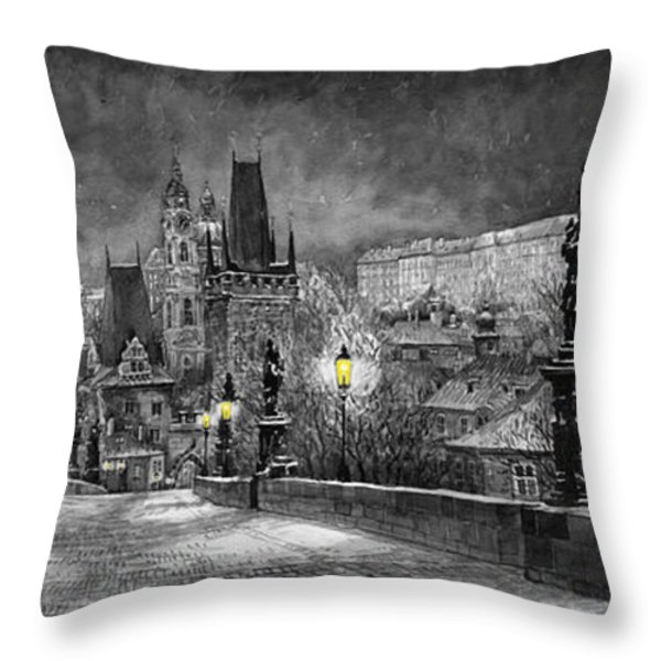 BW Prague Charles Bridge 06 Throw Pillow by Yuriy  Shevchuk