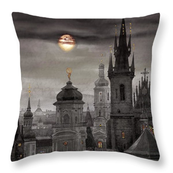 BW Prague City of hundres spiers Throw Pillow by Yuriy  Shevchuk