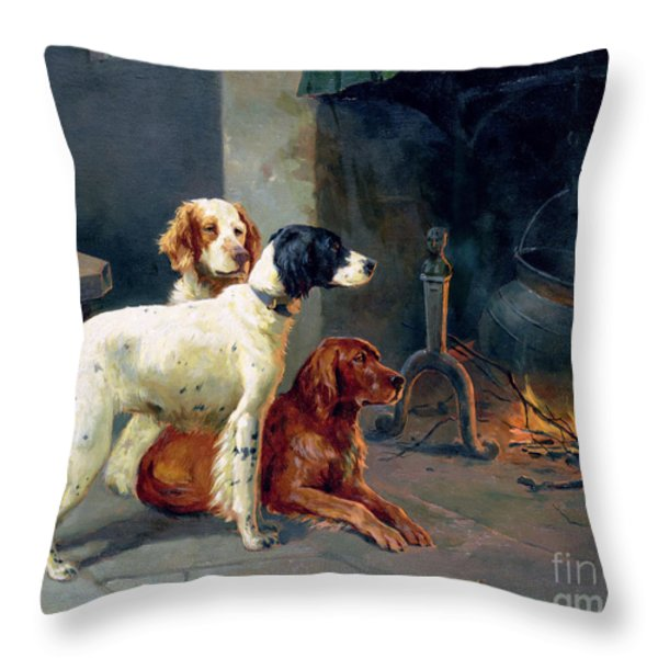 By The Fire Throw Pillow by Alfred Duke