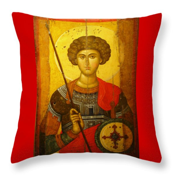 Byzantine Knight Throw Pillow by Ellen Henneke