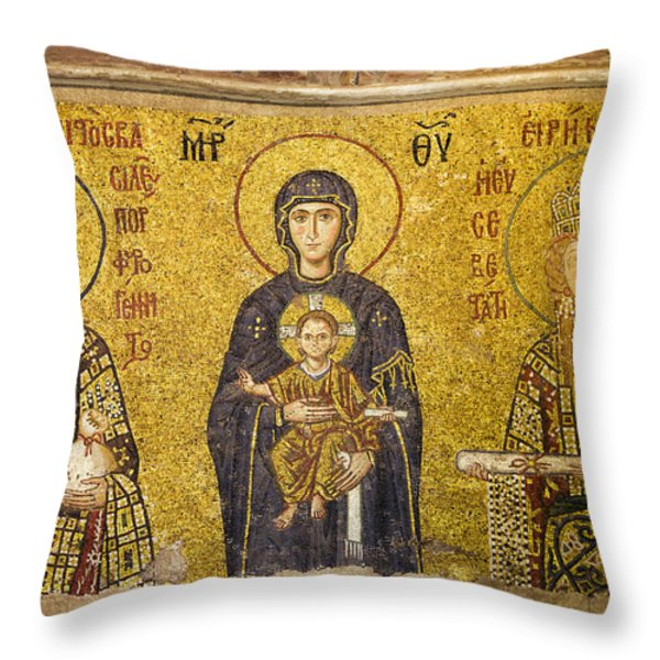 Byzantine Mosaic in Hagia Sophia Throw Pillow by Artur Bogacki