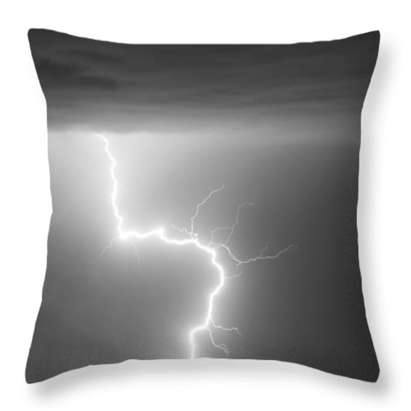 C2G Lightning Strike in Black and White Throw Pillow by James BO  Insogna