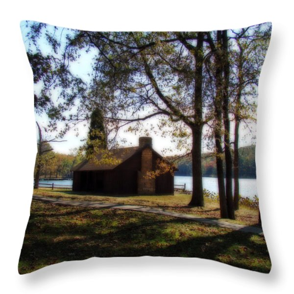 Cabin By The Lake Throw Pillow by Sandy Keeton