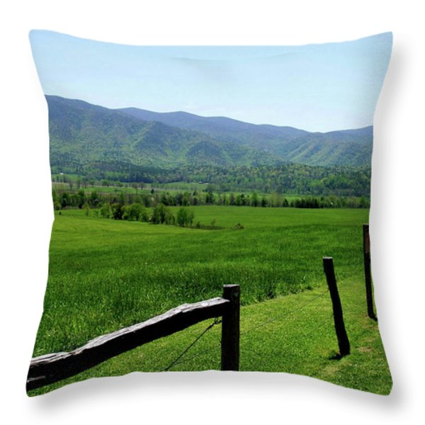 Cades Cove View Throw Pillow by Nancy Mueller