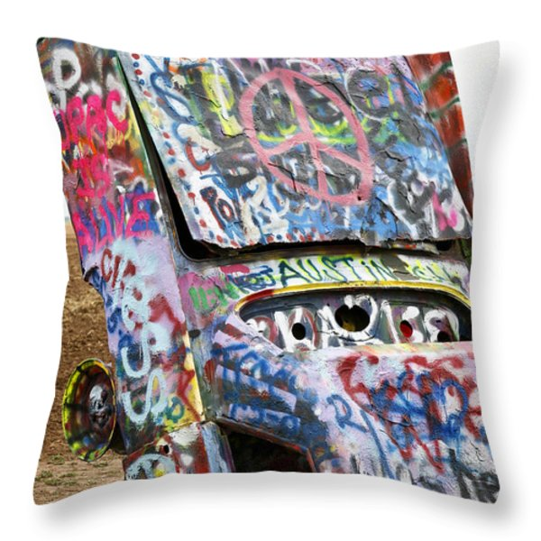 Cadillac Ranch Throw Pillow by Marilyn Hunt