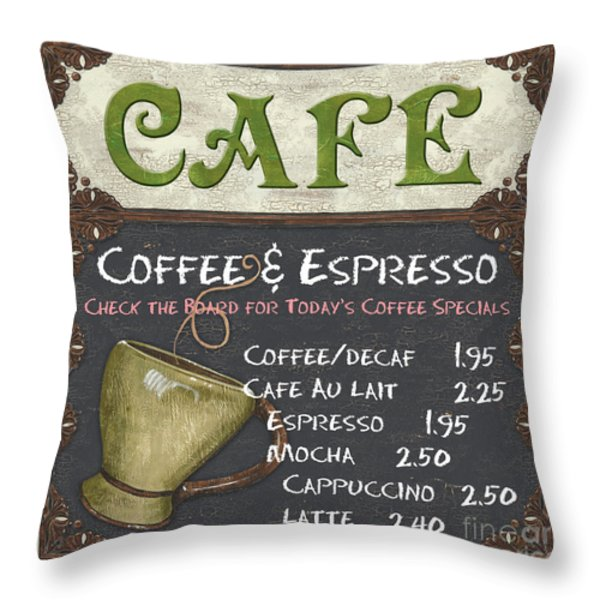 Cafe Chalkboard Throw Pillow by Debbie DeWitt