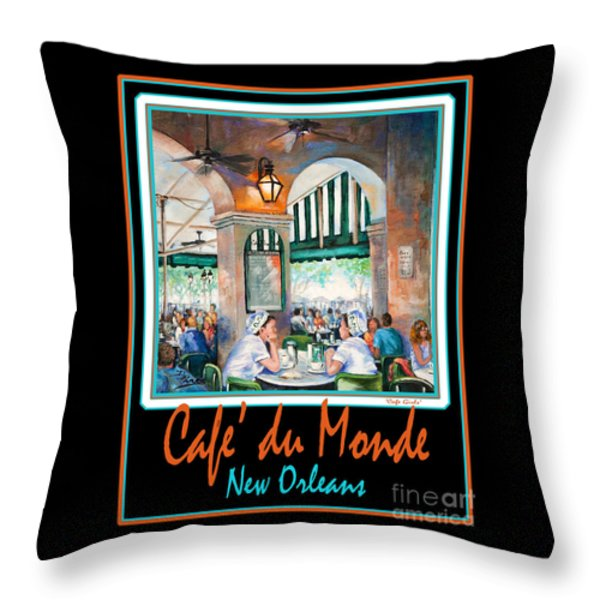 Cafe Du Monde Throw Pillow by Dianne Parks