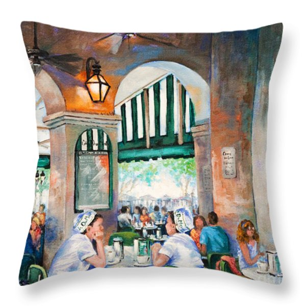 Cafe Girls Throw Pillow by Dianne Parks