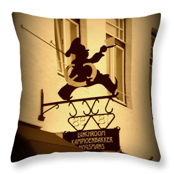 Cafe Sign In Holland Throw Pillow by Carol Groenen