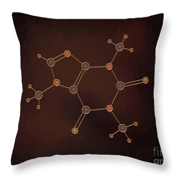 Caffeine Molecule Throw Pillow by Pet Serrano