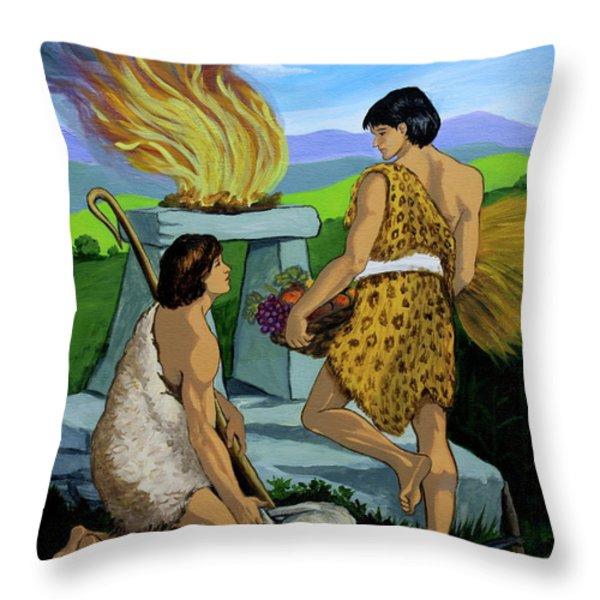 Cain and Abel Throw Pillow by Karon Melillo DeVega