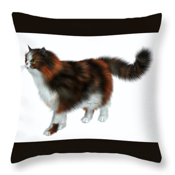 Calico Cat Throw Pillow by Corey Ford