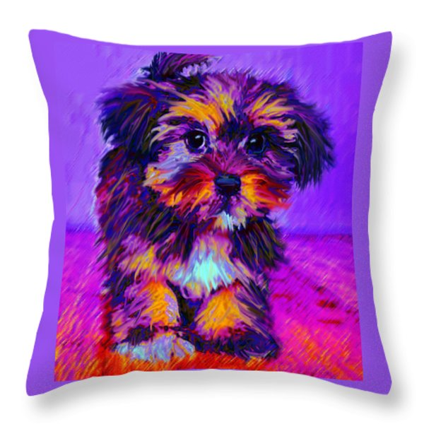 Calico Dog Throw Pillow by Jane Schnetlage