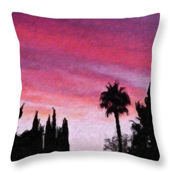 California Sunset Painting 2 Throw Pillow by Teresa Mucha
