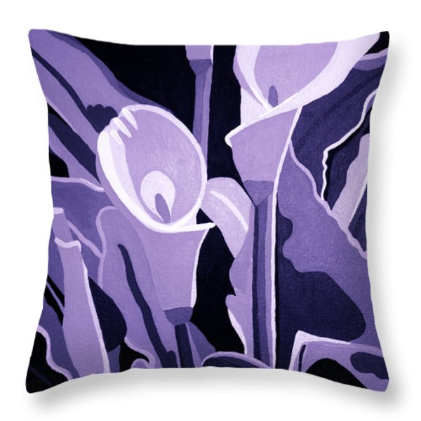 Calla Lillies Lavender Throw Pillow by Angelina Vick