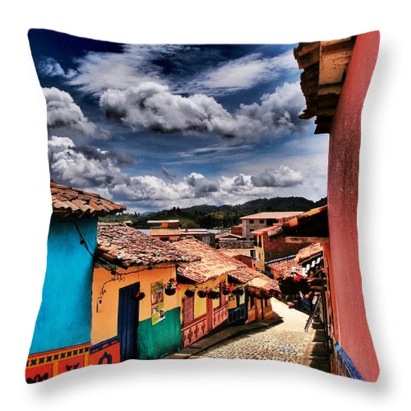 Calle De Colores Throw Pillow by Skip Hunt