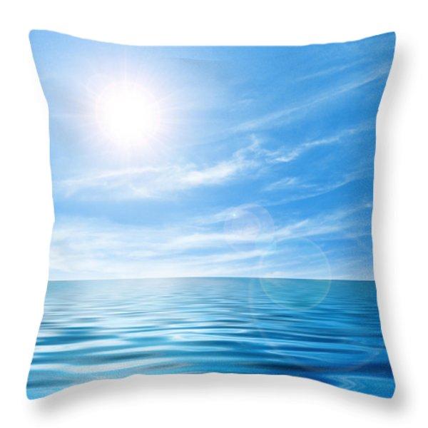 Calm seascape Throw Pillow by Carlos Caetano