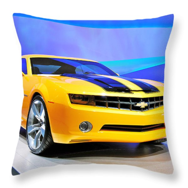 Camaro Bumble Bee 0993 Throw Pillow by Michael Peychich