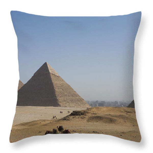 Camels At The Great Pyramids At Giza Throw Pillow by Taylor S. Kennedy
