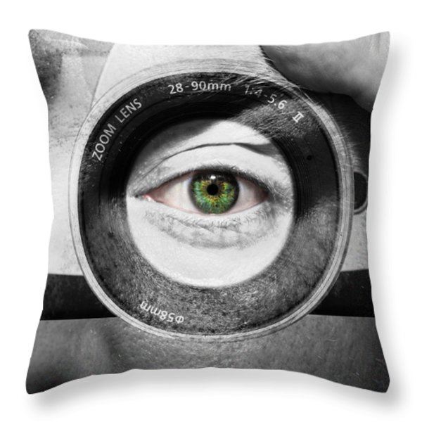 Camera Face Throw Pillow by Semmick Photo